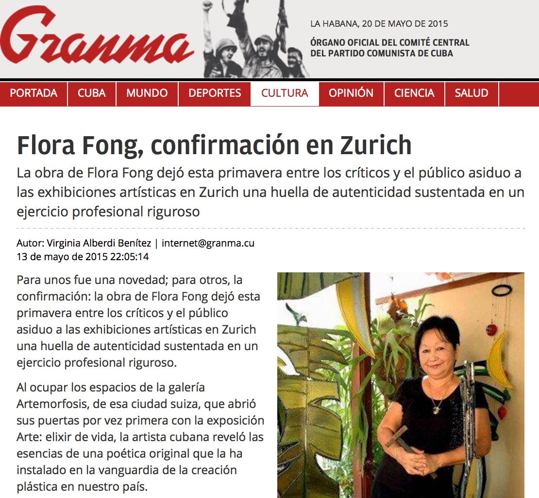 Article on Flora Fong's exhibition in Zürich in Granma