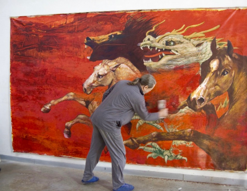 Frometa working on - RELIEF SYMPHONY - Acrílico y óleo sobre lienzo / Acrylic and oil on canvas. 212 x 350 cm 2010 Signed in Beijing